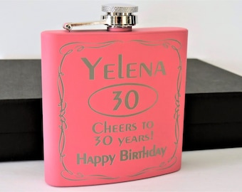 Birthday gift for Women, Pink Flask set with shot glasses, 21st Birthday-30th,40th-50th any year Personalized