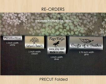 115 PRECUT FOLDED Custom Satin Clothing Labels for Returning Customers Only ~ TagsToGo
