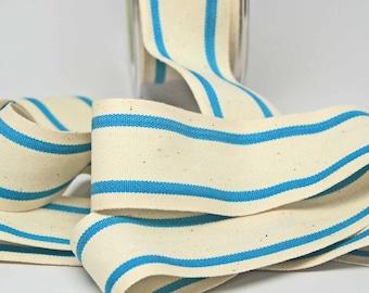 Cotton Stripe Ribbon 1.5 inch -- Natural Turquoise -- Off White Blue Cream
