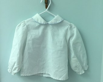 2T, Vintage Classic Baby Clothes, White Long Sleeved Shirt with Tiny Pale Blue Polka Dots