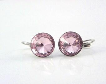 Light pink Earrings Swarovski Crystal Rivoli earrings, Lever back dangle Earrings, Pink earrings, Bridesmaid gift, Gift for her