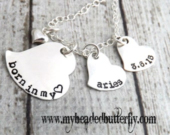 adoption necklace-personalized adoption necklace-born in my heart necklace-hand stamped necklace-heart necklace-foster parent necklace