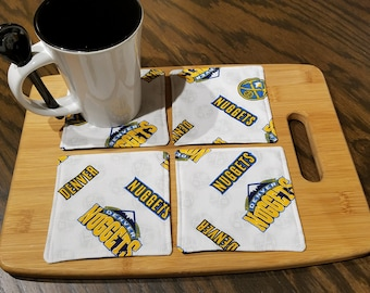 Quilted Fabric Coasters - Denver Nuggets Fabric with Navy Blue on Reverse - Set of 4