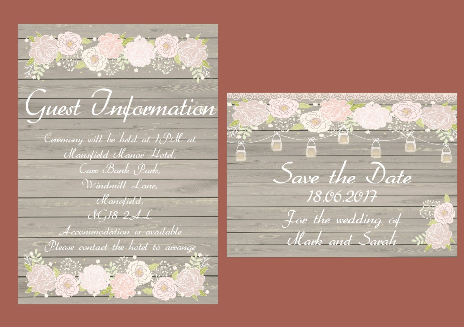Mason Jar, rustic wood printable wedding invitation, shabby chic ...