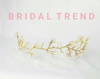 Gold Baby's Breath Hair Vine Headband Gold bridal Hail Vine, Bridal Hair accessory