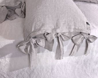 Stonewashed Linen Pillowcases with Bow Closure Provincial Style Flax Bed Linen  LifeInLinenStudio Stonewashed Linen Eco Bedding Home Decor