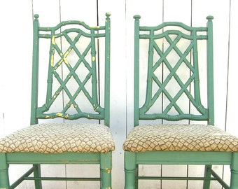 2 Faux Bamboo Chairs, Hollywood Regency Chinese Chippendale, Chinoiserie, Tropical Palm Beach, Green, Local Pick Up Only