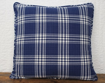 Blue and ivory plaid pillow cover 20 x 20""