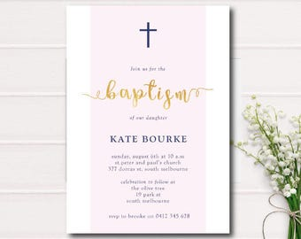 Blush, Navy and Gold Baptism Invitation, Christening Invite with Cross, blush and navy gold foil Printable Baptism Printable Christening