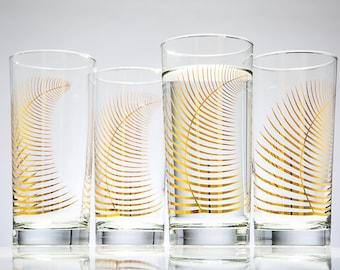 Metallic Gold Fern Glasses - Set of 4 Highball Glasses, Gold Holiday Glasses, Christmas Glasses, Christmas Glassware, Metallic Gold Leaf