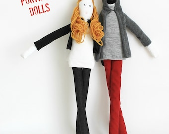 His & Hers couple art dolls, personalized portrait dolls, likeness stuffed dolls, custom soft sculpture, unique wedding anniversary gift