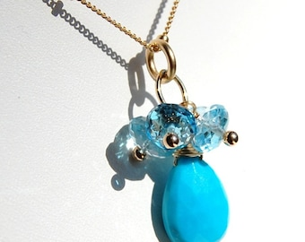 Turquoise Necklace, Sleeping Beauty Turquoise, Swiss Blue Topaz Cluster Wire Wrapped on 14K Gold Filled Chain
