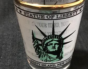 Vintage Shot Glass Statue of Liberty Vintage Bar Item