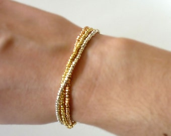 Stretch Silver Faceted Nugget Seed Bead Bracelet