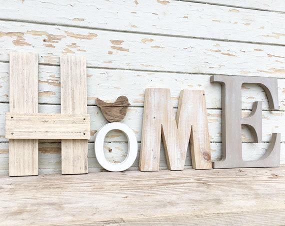 Scritta home in legno di recupero con un uccellino o un cuore for Scritta home in legno