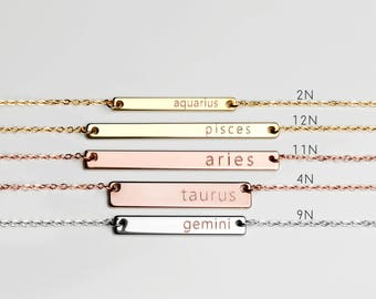 Astrology Necklace Zodiac Bar Necklace Constellation Valentine's Gift Pisces Aquarius Leo Cancer - ZBN