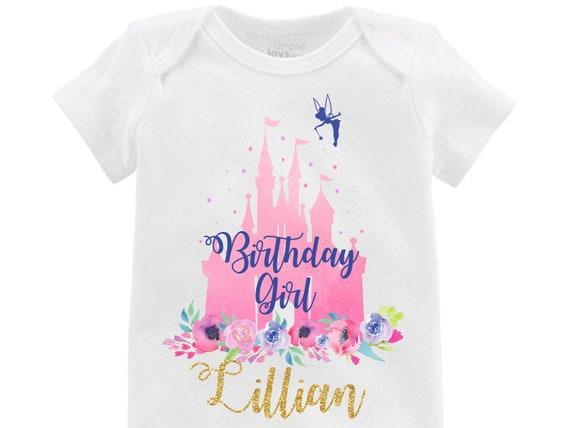 Birthday Girl Cinderella Castle Onesie Shirt Personalized Tinker Bell Flutter Sleeve Raglan Birthday Shirt Girl Shirt Monogram Flowers Pink