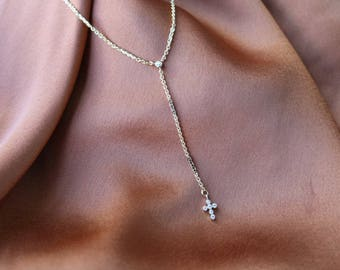 Little Prayer Lariat 24K Necklace - Gold Necklace - Gold Chain Necklace - Cross Necklace - Lariat Necklace - Gold Cross Necklace - Religious