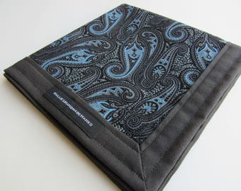 Gray Blue Paisley EDC Hank Handmade Hank Everyday Carry Hank Mens Handkerchief Groomsmen Gift EDC Gift for Her Free Shipping to USA