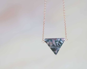 Jasper Triangle Pendant Necklace on 14k Rose Gold Filled or Sterling Silver Chain, Delicate Jasper Jewelry, Oxidized Sterling Silver