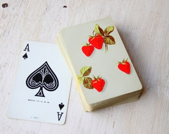 Vintage Strawberry Playing Cards - Bridge Club, Poker Night, Poker Cards, Poker Hand, Aces, Spades, Diamonds, Clubs, Hearts (WTH-1249)