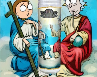 Rick and Morty Prayer Candle (Saint Rick & Saint Morty)