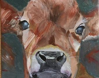Malerei Kuh 20 x 20 cm / / Tiere auf dem Bauernhof / / Geschenk Kinderzimmer