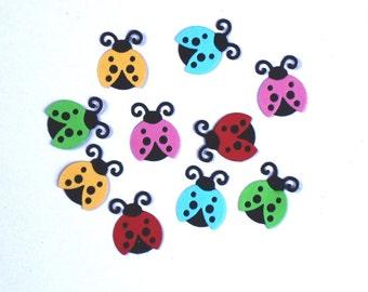 10 Cute Little Lady Bugs/Die Cuts/Embellishments/Paper Cuts/Scrapbooking/Card Making/