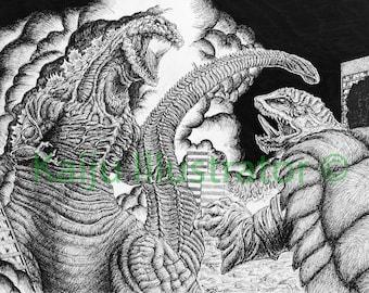 """Shin Godzilla vs Nightmare Gamera 11""""x17"""" Print"""