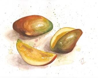 Original Still Life with Mango, Mango Watercolor, Still life Watercolor, Still Life with Mango, Fruits Watercolor, Home Kitchen Art Decor