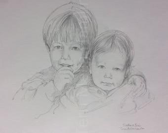 Custom Portrait of Children , Mothers Day Gift,Portrait Drawing of two boys , Custom Drawing of Children , Hand Drawn Portrait