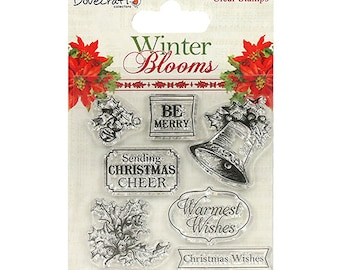 Dovecraft Winter Blooms Clear Stamps - Holly and Bells - Sentiment - Christmas Stamp Set - Christmas Wishes - Be Merry - Warmest Wishes