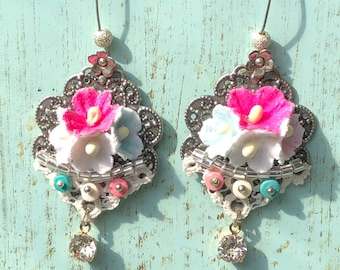 shabby chic French love Paper fabric flowers lace rhinestone dangle earrings