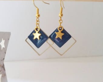 Earrings enameled gold star and midnight blue fine graphics