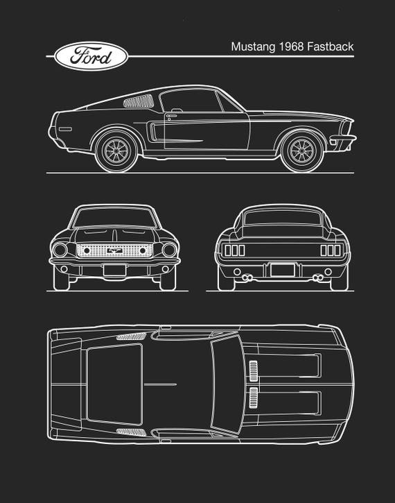 Auto art patent print ford mustang 1968 blueprint bullitt adelo a tus favoritos para volver ms adelante malvernweather Image collections