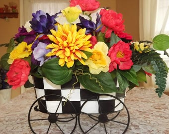 Floral Arrangement, Checkered Wagon, Home Decor, Floral Decor, Table Top Centerpiece, Silk Arrangement