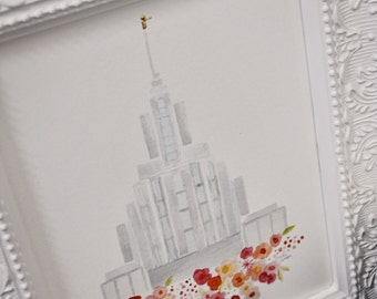 LDS Oquirrh Mountain Temple Print - Giclee - Watercolor - gold foil - unframed