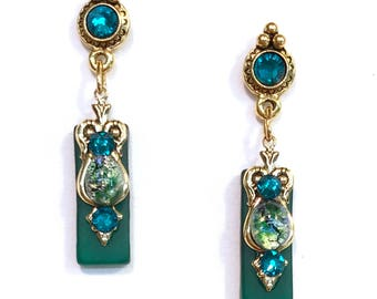 Green Stained Glass Rectangular Earrings with Crystal Posts