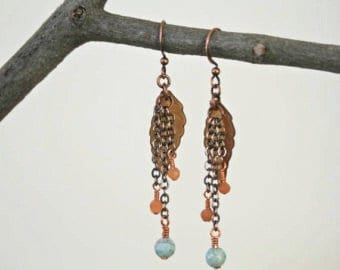 Autumn Leaves Turquoise and Peach Moonstone Dangling Boho Style Antiqued Copper Earrings