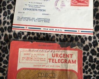 World War II telegram envelope and airmail envelope lot