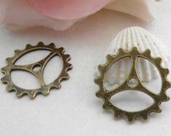 20pcs 22mm Antique Brass Gear Charms Pendant, Gear Charms Connector