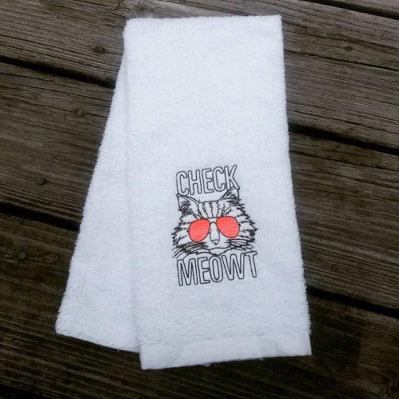 Check Meowt Sweat Towel Gym Towel Cool Cat Towel