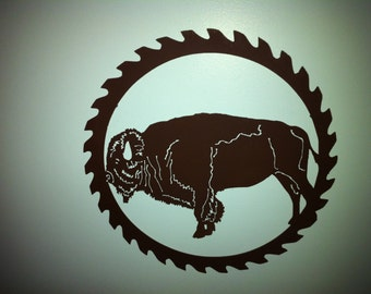 Buffalo Metal Wall Decor  Buffalo Saw Blade Wall Decor Buffalo Cut Out Saw Blade