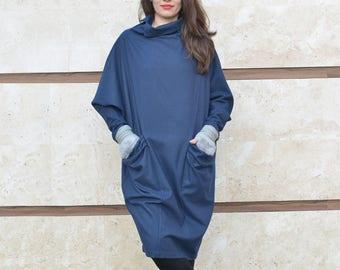 Wool Dress, Kimono Dress, Women Dress, Winter Dress, Dark Blue Dress, Balloon Dress, Midi Dress, Minimalist Dress, Loose Dress, Pocket Dress
