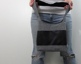 color block medium handbag black/gray linen with black faux leather center panel and black interior. ready to ship and clearance priced.