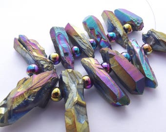 set small pendants agate multicolor titanium 12 pieces 717 ANN