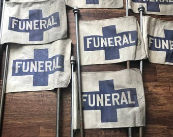 Antique funeral flag and pole set of two sale!!!!