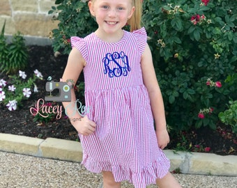 Monogrammed Toddler or little girl Seersucker Red Ruffle Dress, patriotic Dress, 4th of july outfit, Memorial or Labor Day Dress, Ruffles