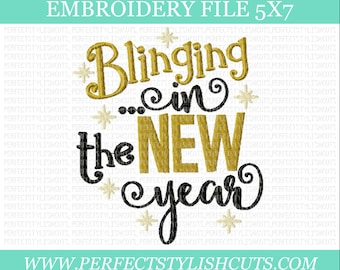 New Years Embroidery Design -Blinging In The New Year, 5x7 Embroidery File, 2018 Embroidery, Machine Embroidery Designs, PES Files