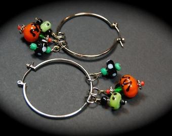Fun & Funky Halloween Hoop Earrings, Jack-O-Lantern Hoop Earrings, Halloween Earrings, Lampwork Earrings, Handmade Earrings